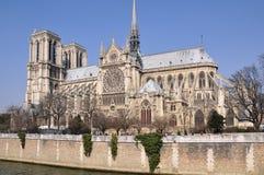 Punto di vista di Notre Dame da Pont de l ` Archeveche Fotografia Stock