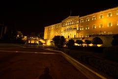 Punto di vista di notte del Parlamento della Grecia fotografie stock libere da diritti