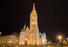 Punto di vista di notte di Matthias Church a Budapest Ungheria Fotografie Stock Libere da Diritti
