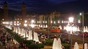 Punto di vista di notte di Plaza de Espana archivi video