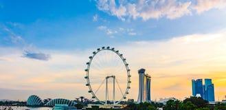 Punto di vista di panorama di Marina Bay Alta vista dell'aletta di filatoio di Singapore Fotografia Stock Libera da Diritti