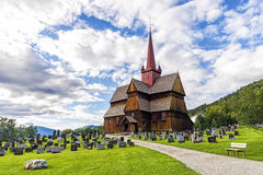 Punto di vista di Ringebu Stave Church in Norvegia Fotografie Stock