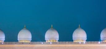 Punto di vista di sera di sceicco Zayed Mosque Fotografie Stock Libere da Diritti