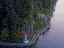 Punto di vista di Stanley Park Seawall From Above, Vancouver Fotografia Stock Libera da Diritti