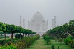 Punto di vista di Taj Mahal in nebbia di mattina dall'altro lato del Mehtab Bagh o Immagini Stock