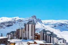 Punto di vista di Tignes Val Claret fotografia stock libera da diritti