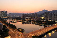 Punto di vista di tramonto dello Shing Mun River, Hong Kong - 11 ottobre 2014 Fotografie Stock Libere da Diritti