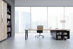 Punto di vista di un CEO ufficio con le porte di legno e uno scaffale Immagini Stock Libere da Diritti