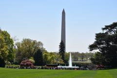Punto di vista di Washington Monument dalla Casa Bianca in Washington, DC Fotografia Stock Libera da Diritti