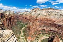 Punto di vista di Zion National Park dalla cima di atterraggio di Angel's, Utah, U.S.A. Fotografia Stock Libera da Diritti