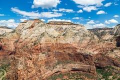 Punto di vista di Zion National Park dalla cima di atterraggio di Angel's, Utah, U.S.A. Immagini Stock