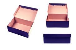 Punto di vista differente della scatola in bianco con il coperchio su backgroun bianco Immagini Stock Libere da Diritti