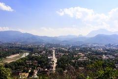 Punto di vista e paesaggio nel prabang del luang, Laos Fotografia Stock