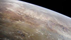 Punto di vista di elevata altitudine della terra nello spazio Il deserto di Namib in Africa del Sudovest fotografie stock