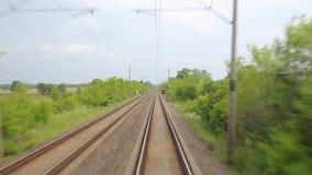 Punto di vista ferroviario di viaggio stock footage