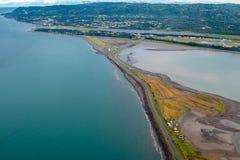 Punto di vista di fotografia aerea di Homer Spit, in Homer Alaska immagine stock libera da diritti