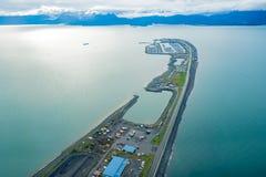 Punto di vista di fotografia aerea di Homer Spit, in Homer Alaska fotografie stock libere da diritti