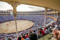 Punto di vista interno di Plaza de Toros de Las Ventas con il gathere dei turisti Fotografia Stock