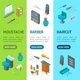 Punto di vista isometrico di Barber Shop Banner Vecrtical Set Vettore royalty illustrazione gratis