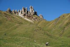 Punto di vista meraviglioso di alp de siusi con il picco di montagna distintivo della dolomia Fotografia Stock Libera da Diritti