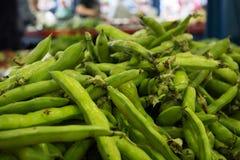 Punto di vista orizzontale di Fava Beans al mercato Taranto, a sud della I fotografia stock