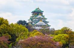 Punto di vista di Osaka Castle a Osaka con le foglie di autunno, Janpan immagini stock libere da diritti