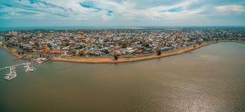 Punto di vista panoramico aereo del sobborgo e dell'yacht club costieri di Williamstown a Melbourne, Australia Fotografie Stock Libere da Diritti