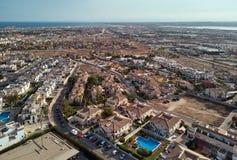 Punto di vista panoramico aereo di stazione turistica di Torrevieja spain immagini stock