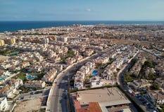 Punto di vista panoramico aereo di stazione turistica di Torrevieja spain fotografia stock libera da diritti