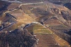 Punto di vista panoramico del Val di Non (Trento, negativo per la stampa di cartamoneta Adige, Italia di Trentino) all'inverno Immagine Stock