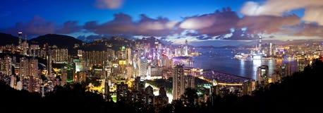 Punto di vista panoramico di alta risoluzione di Hong Kong a Immagine Stock