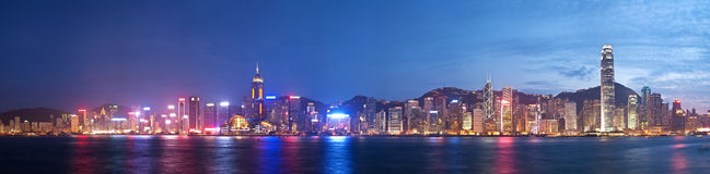 Punto di vista panoramico di alta risoluzione di Hong Kong a Fotografia Stock Libera da Diritti
