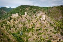 Punto di vista panoramico di de Lastours dei chateaux del quatre di Les Immagine Stock Libera da Diritti