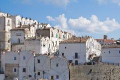 Punto di vista panoramico di Monte Sant ' Angelo. La Puglia. L'Italia. Fotografia Stock