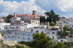 Punto di vista panoramico di Monte Sant ' Angelo. La Puglia. L'Italia. Fotografie Stock Libere da Diritti