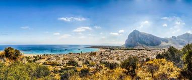 Punto di vista panoramico di San Vito Lo Capo, Sicilia Fotografia Stock Libera da Diritti