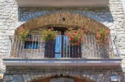 Punto di vista panoramico di Satriano di Lucania L'Italia Fotografie Stock Libere da Diritti