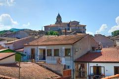 Punto di vista panoramico di Satriano di Lucania L'Italia Fotografia Stock