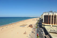 Punto di vista panoramico di Victoria Beach, Costa de la Luz, Cadice, Andalusia, Spagna Fotografia Stock Libera da Diritti