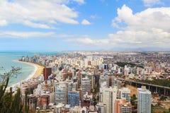 Punto di vista panoramico di Vila Velha, Costa del da della Praia della spiaggia, Espirito San Immagine Stock