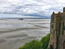 Punto di vista panoramico di Mont Saint Michele, Normandia, Francia fotografia stock libera da diritti