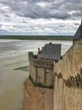 Punto di vista panoramico di Mont Saint Michele, Normandia, Francia fotografie stock