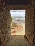 Punto di vista panoramico di Mont Saint Michele, Normandia, Francia immagine stock libera da diritti