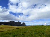 Punto di vista panoramico Sciliar di Mountains Alpe di Siusi Alps Fotografia Stock