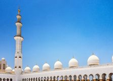 Punto di vista panoramico di Sheikh Zayed Grand Mosque, Abu Dhabi, UAE Fotografia Stock Libera da Diritti