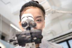Punto di vista parziale dello scienziato della donna che guarda tramite il microscopio Fotografia Stock Libera da Diritti