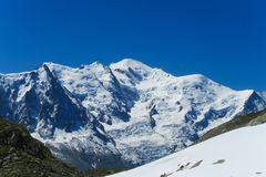 Punto di vista pittoresco del ghiacciaio nelle alpi Immagini Stock Libere da Diritti