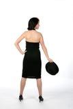 Punto di vista posteriore dell'adolescente in vestito nero Fotografia Stock Libera da Diritti