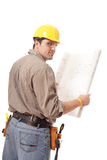 Punto di vista posteriore dell'operaio con le cianografie Fotografia Stock Libera da Diritti