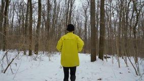 Punto di vista posteriore dell'uomo adatto di sport che corre sul percorso della neve nella foresta di inverno archivi video